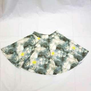 Gray Abstract Art Design Skater Skirt