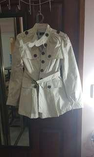 Bardot cream beige 8 coat trench chocolate buttons jacket long