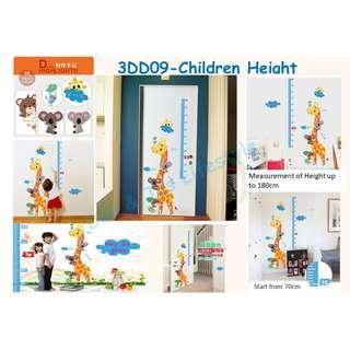 Height Measurement Chart giraffe design Sticker Decal
