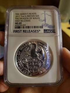 Queen Beast 2017 2oz Dragon of Wales First Release MS69
