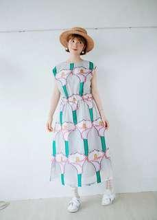 🚚 日系海芋花紋歐根紗洋裝
