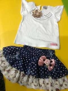 Floral retro 2 piece set TOP and SKirt