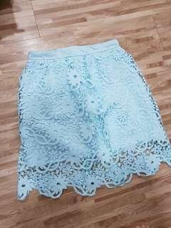 Blue lace prada skirt