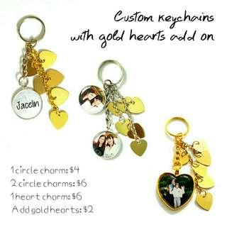 🚚 Customized keychains with gold hearts add ons