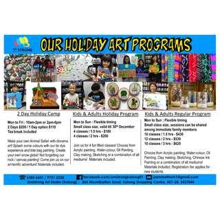 Customized Art Classes for kids and adults / Fun holiday programs and camps / Art jam / Corporate team building events / Parties