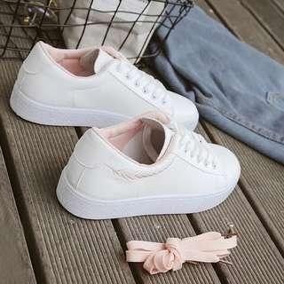 Brand New White Feather Pastel Pink Sneaker