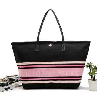 INSTOCK! VS Victoria's Secret Pink Stripes Ornate Shoulder Tote Bag (Black) PO111500152 + FREE Post!