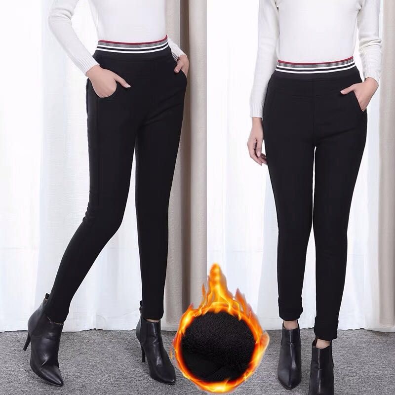 66169052fd822d 2XL~6XL) Women's thick high waist trousers stretch feet pants wear ...