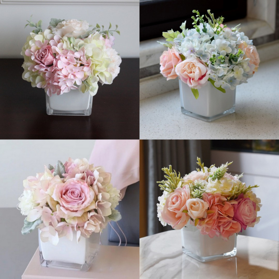 Artificial Flowers Arrangement Hydrangea And Roses Square Vase