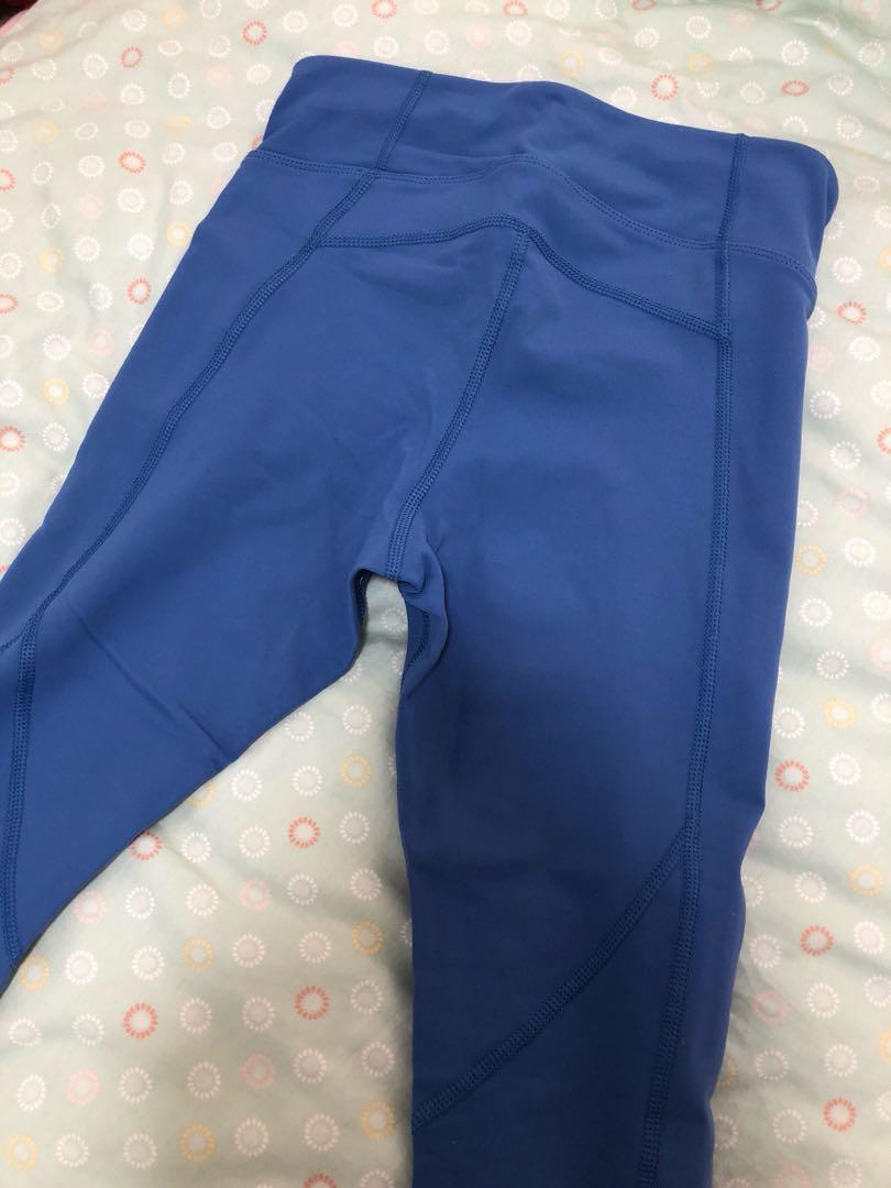 As new Authentic Lorna Jane xs powder blue grey tights gym leggings 7/8 length worn once