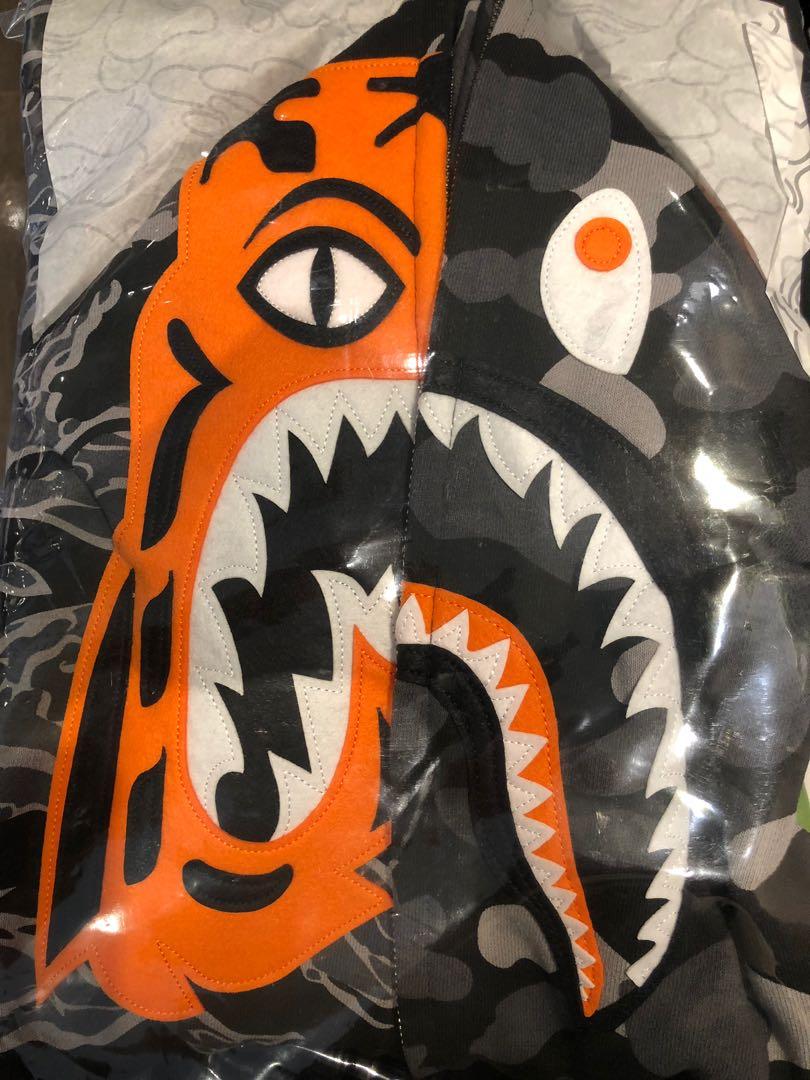 3263201fa1c4 Bape Undefeated Tiger Shark Half Full Zip Hoodie XXL