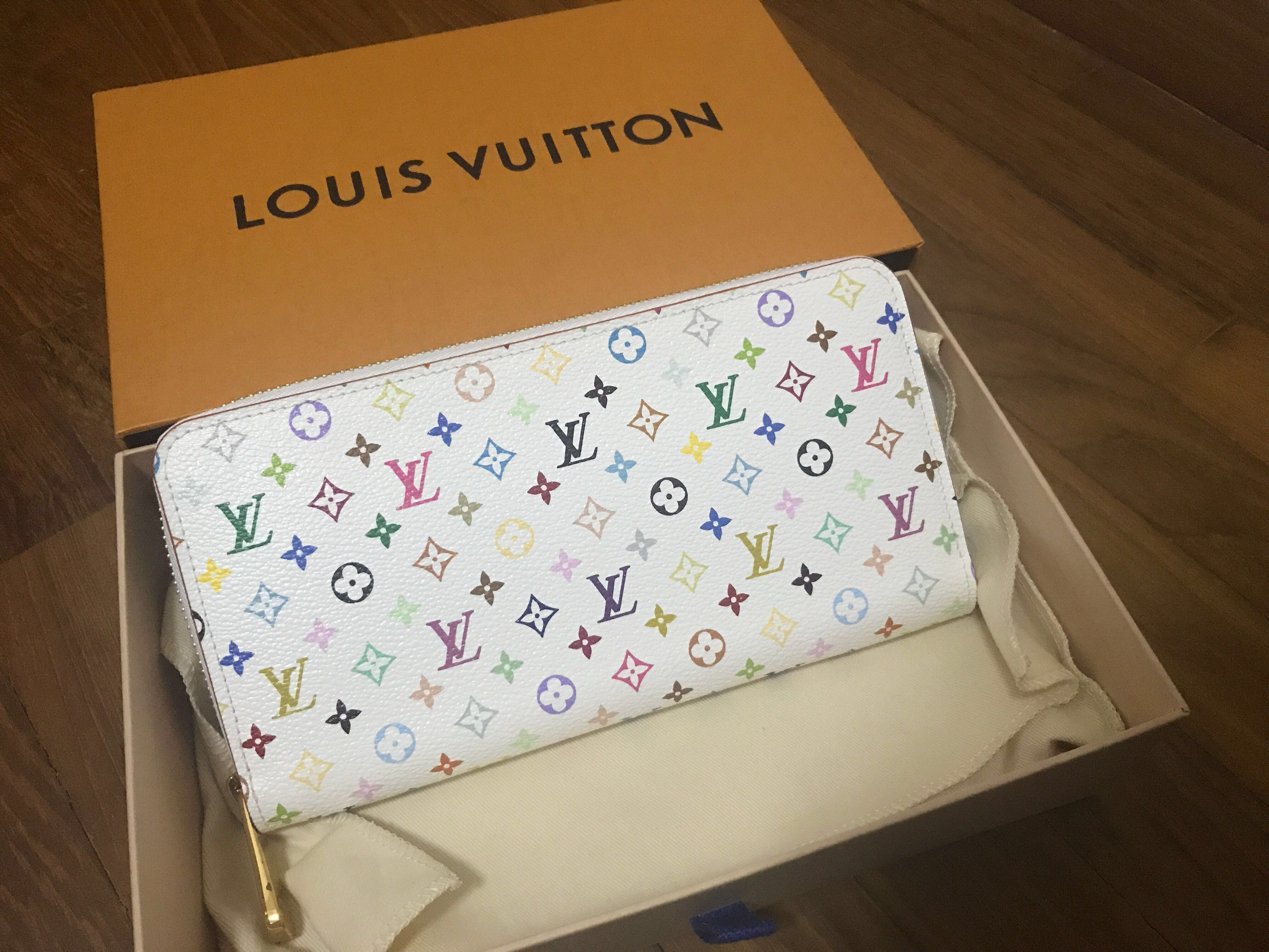8bd4d465105e BN Authentic LV Multicolor Blanc Litchi Zippy Wallet White ...