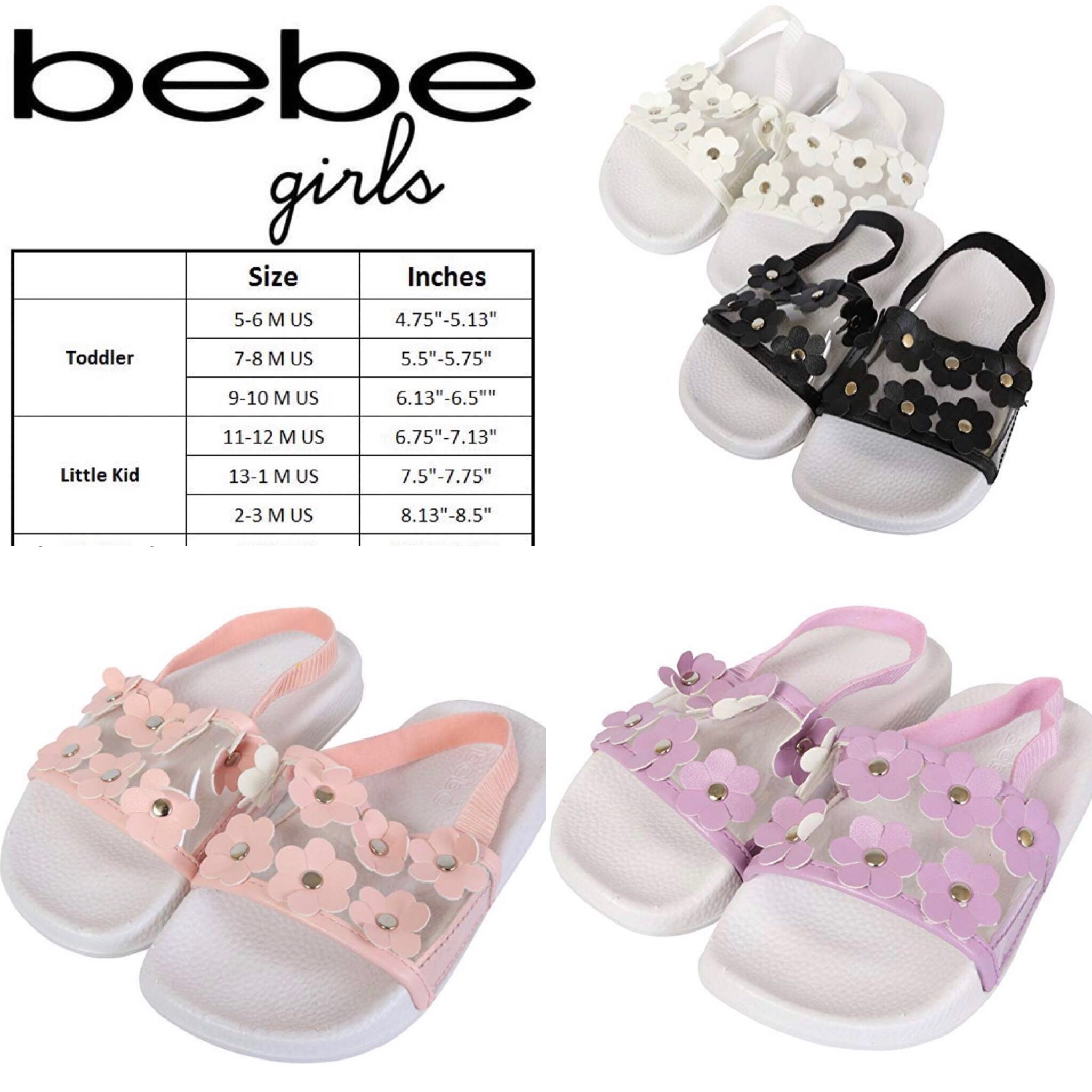 14cfadd52557 BN Bebe Girls Toddler Floral Lilac   Coral Sandals available! US9 10 ...