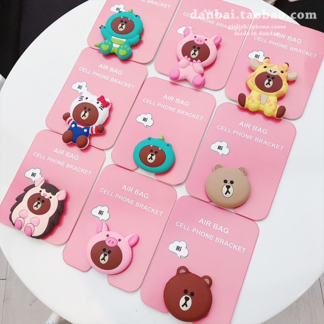 purchase cheap 9c457 cfda7 Super Duper CUTE Adorable LINE Character BROWN Bear Silicon Silicone Air  Bag / Bracket Pop Socket - Suitable for all Mobile Cell Hand HP Phones  Apple ...