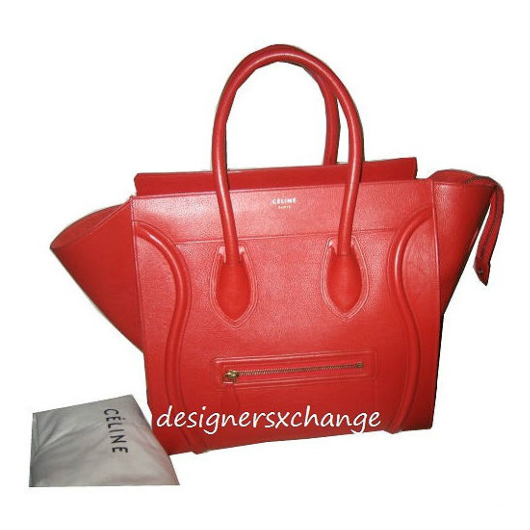 b1c7c2faf4 Celine Vermillion Pebbled Calf Leather Mini Luggage Bag