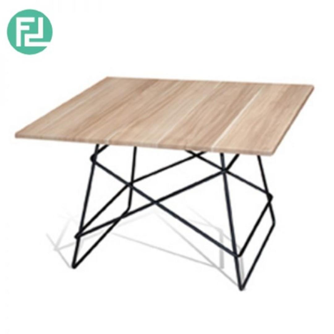 Dbot Square Coffee Table Solid Rubber Wood Top Home Furniture