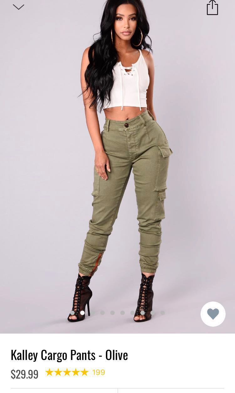 28bdbc765f8e1 Fashion nova olive high waisted cargo pants, Women's Fashion ...