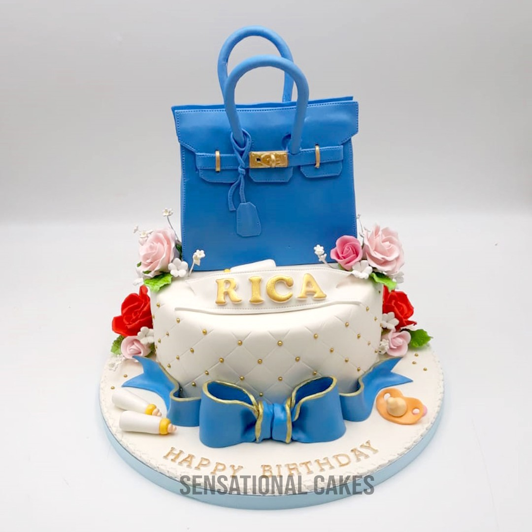 Hermes Luxury Bag Blue Color With Flower Design Theme Birthday Cake