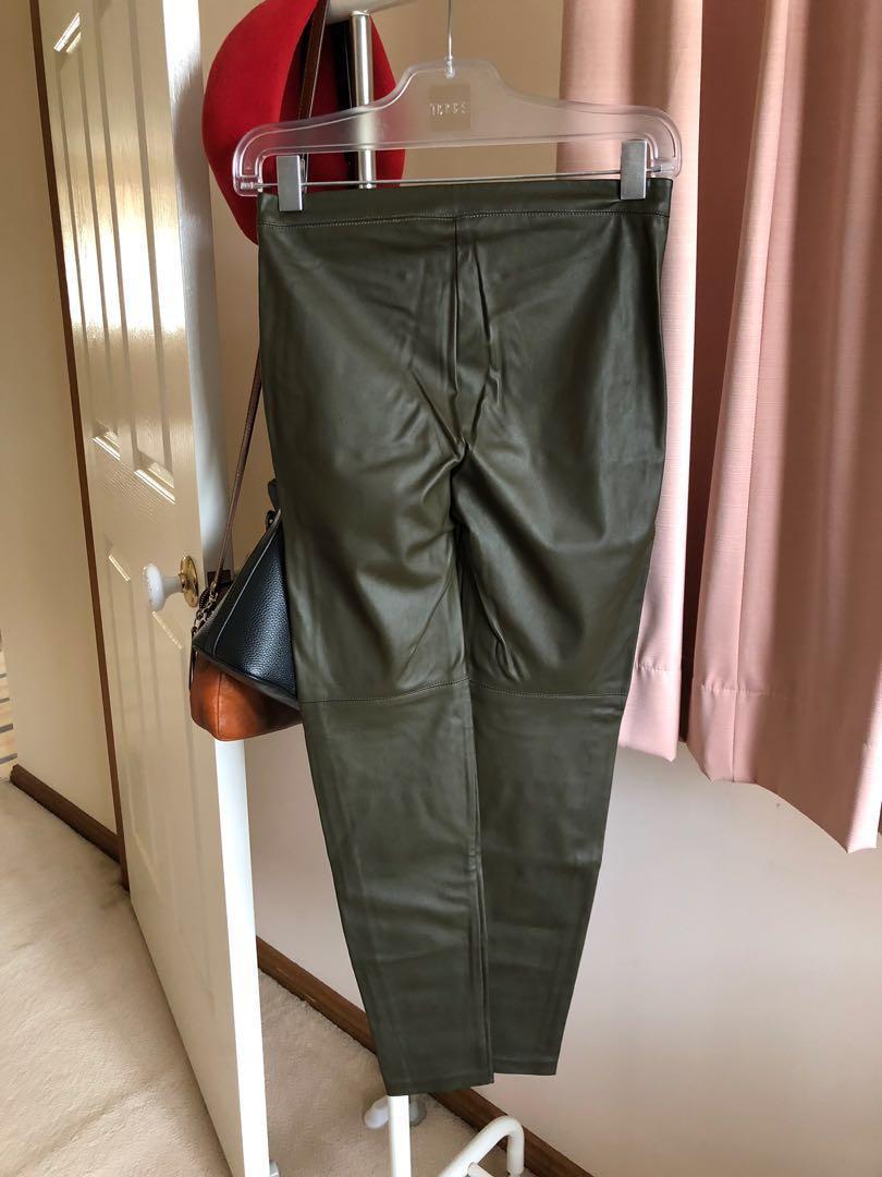 H&M Olive Pleather Pants