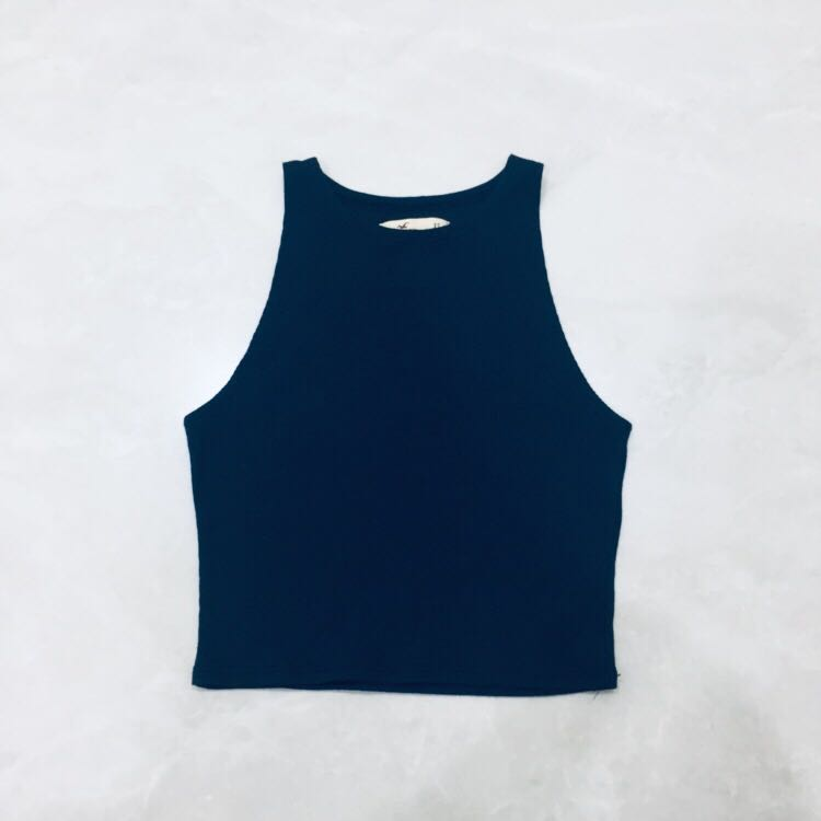 8a7d5dbdc hollister navy blue crop top   halter top   tank top