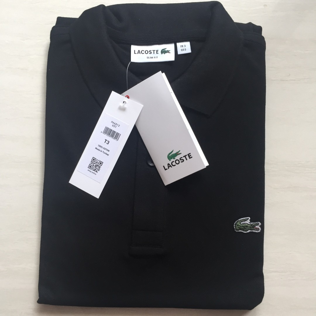 2997e7f4d1f7 Lacoste Slim Fit Polo Black Sz 3 Small, Men's Fashion, Clothes, Tops on  Carousell