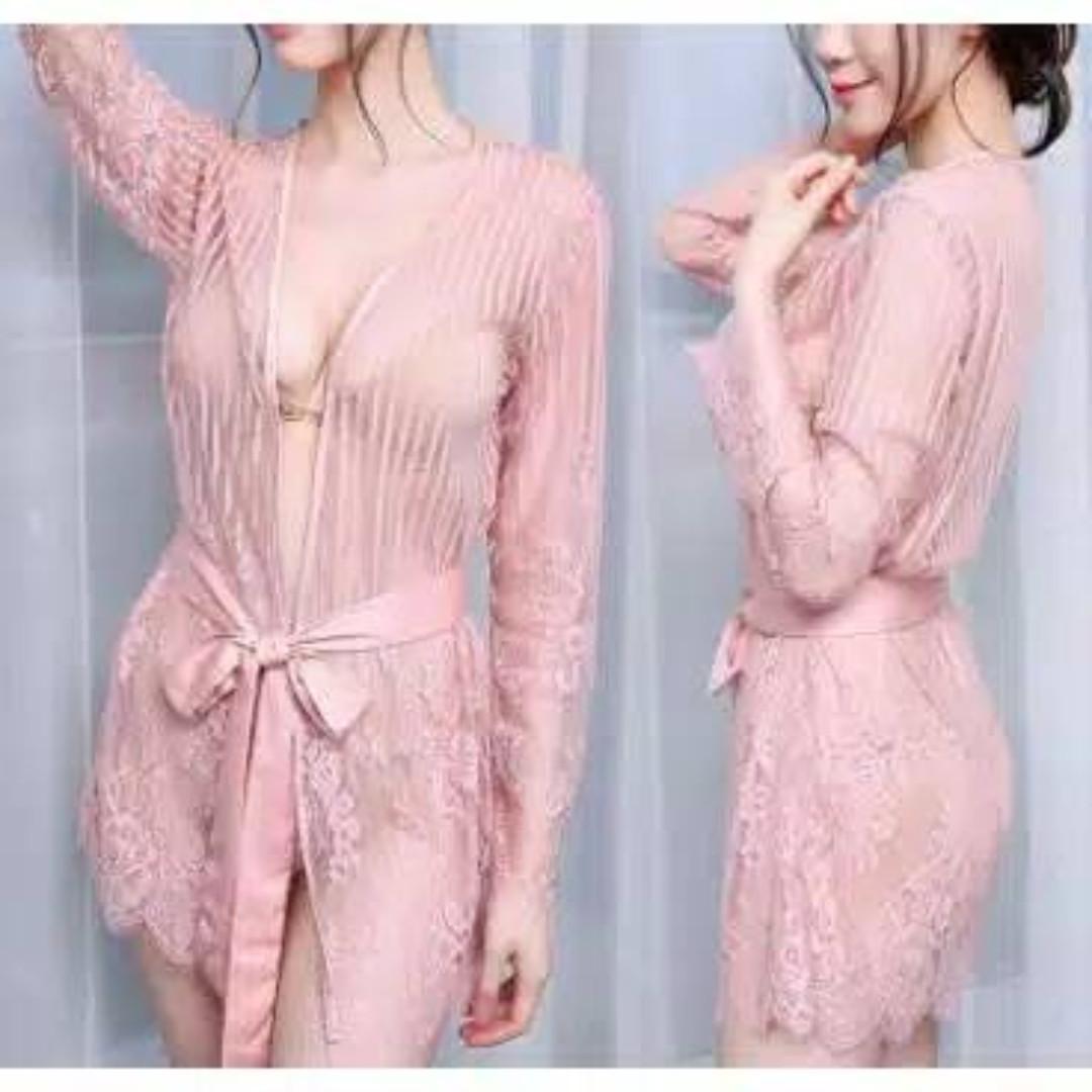 Lingerie Kimono Sexy Bahan Lace Transparan