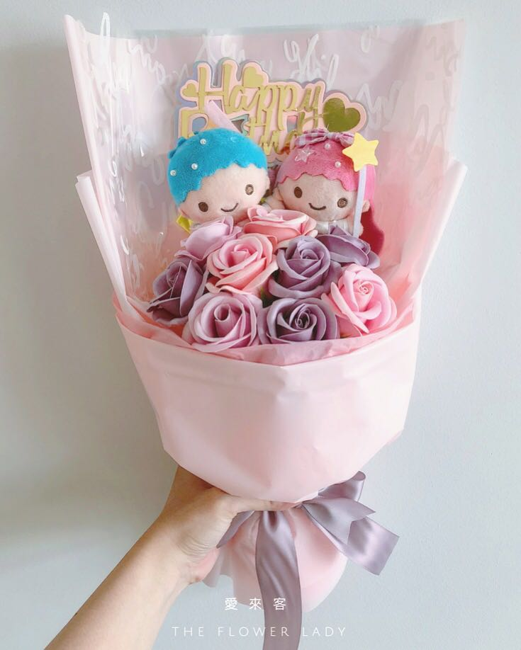 Little Twins Star Soap Rose Bouquet Birthday Gift Valentines Day Design Craft Handmade On Carousell