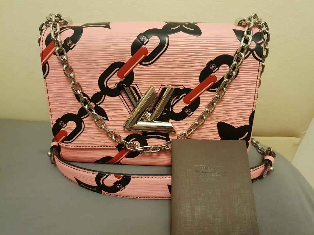 00f7db42bdda LOUIS VUITTON TWIST MM EPI Leather PINK chain shoulder bag