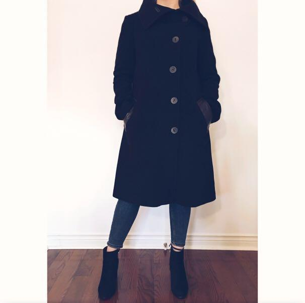MACKAGE WOOL PEACOAT WITH LEATHER TRIM
