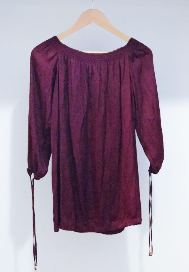 Mink Pink burgundy off the shoulder dress