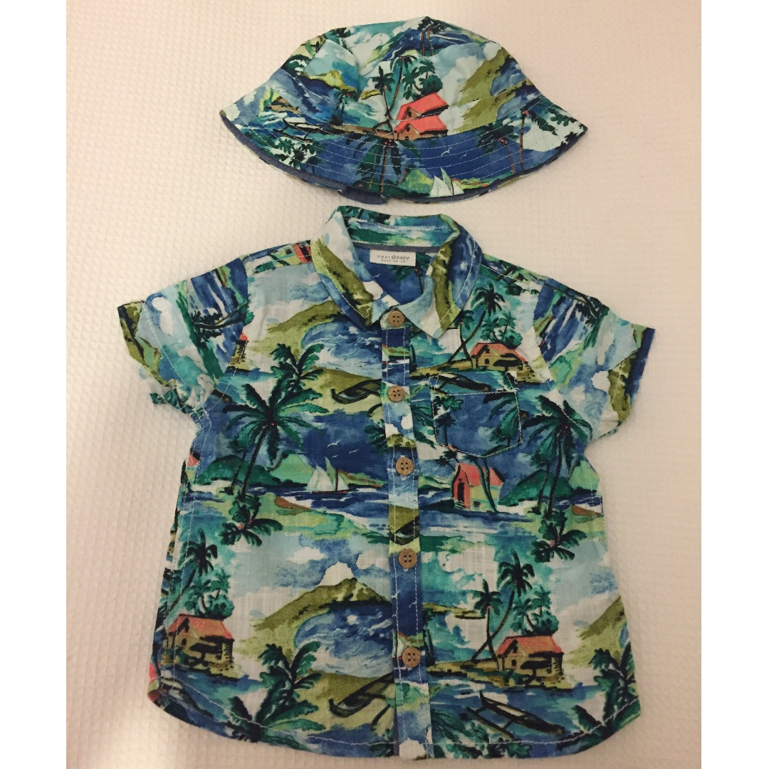 7c30c476f RESERVED Next UK baby boy Hawaiian shirt and hat 6-9 months, Babies & Kids,  Babies Apparel on Carousell