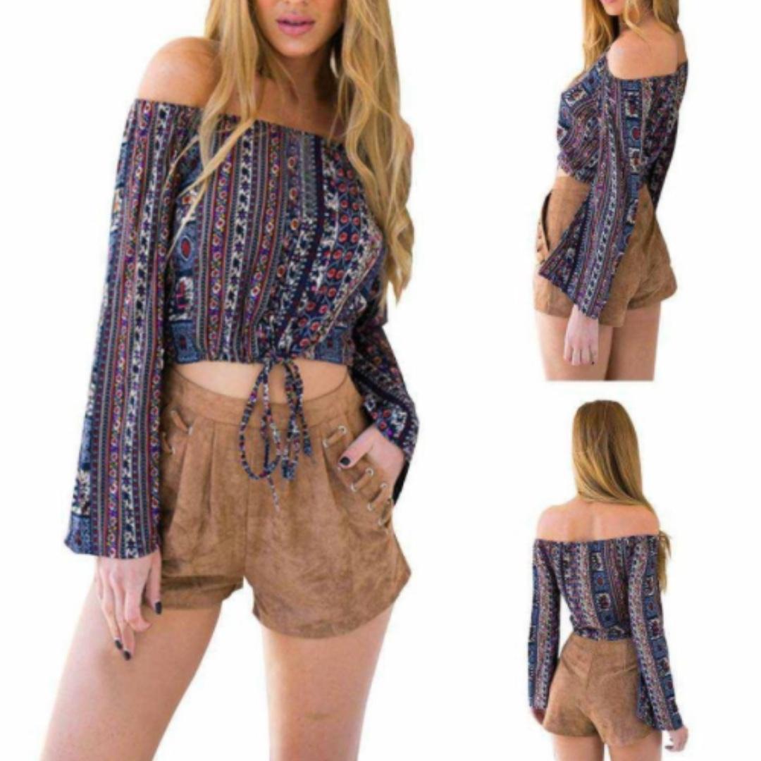 b6551b6e939 Off Shoulder Long Sleeved Blouse Gypsy Boho Bohemian Crop Top PO ...