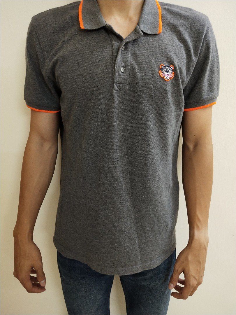 759fca828 Original KENZO Tiger Logo Polo Shirt Gray, Men's Fashion, Clothes ...