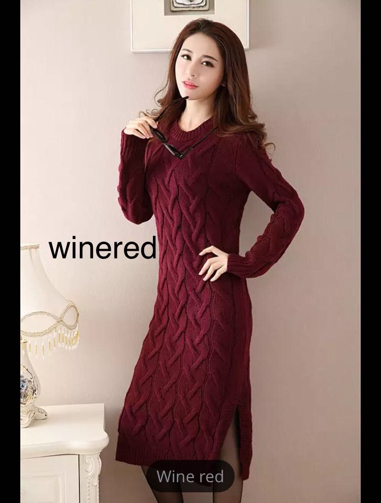 f8e97e261b0 (PO) Fashion Winter 2018 Sweater Dress Women Clothes Ladies Long Sleeve  Knitted O-neck Casual Dress Autumn Female Party Dresses