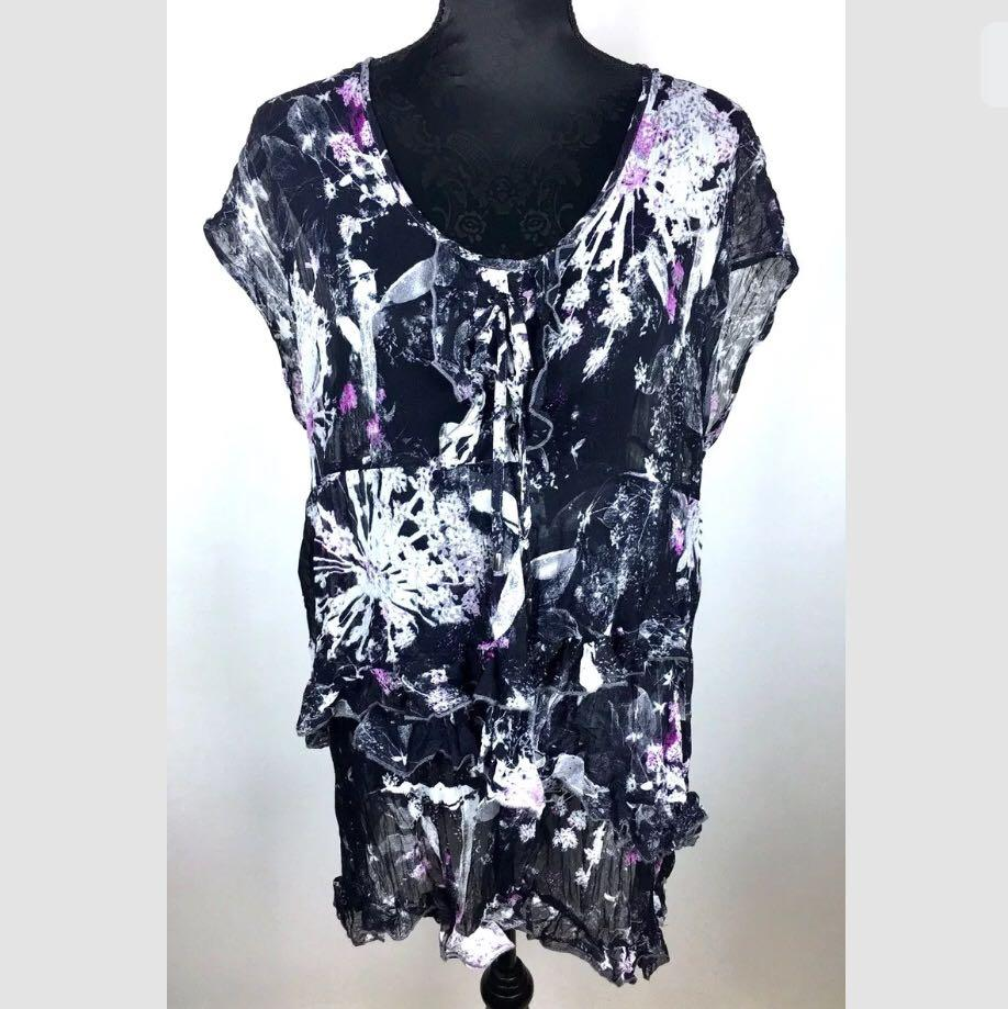 TS Taking Shape 14 Black Sheer Mesh Women Top Shirt Blouse Plus Sz Purple White