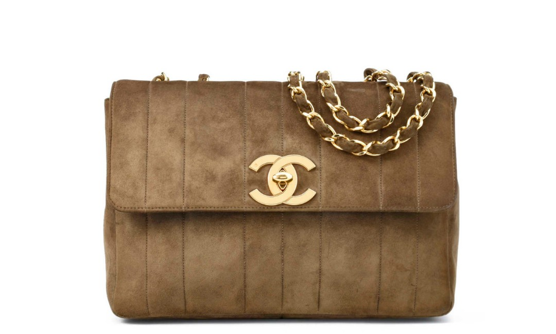 8a485f0f2942 VINTAGE: Chanel Vertical Quilted Suede Flap Bag, Luxury, Bags & Wallets,  Handbags on Carousell