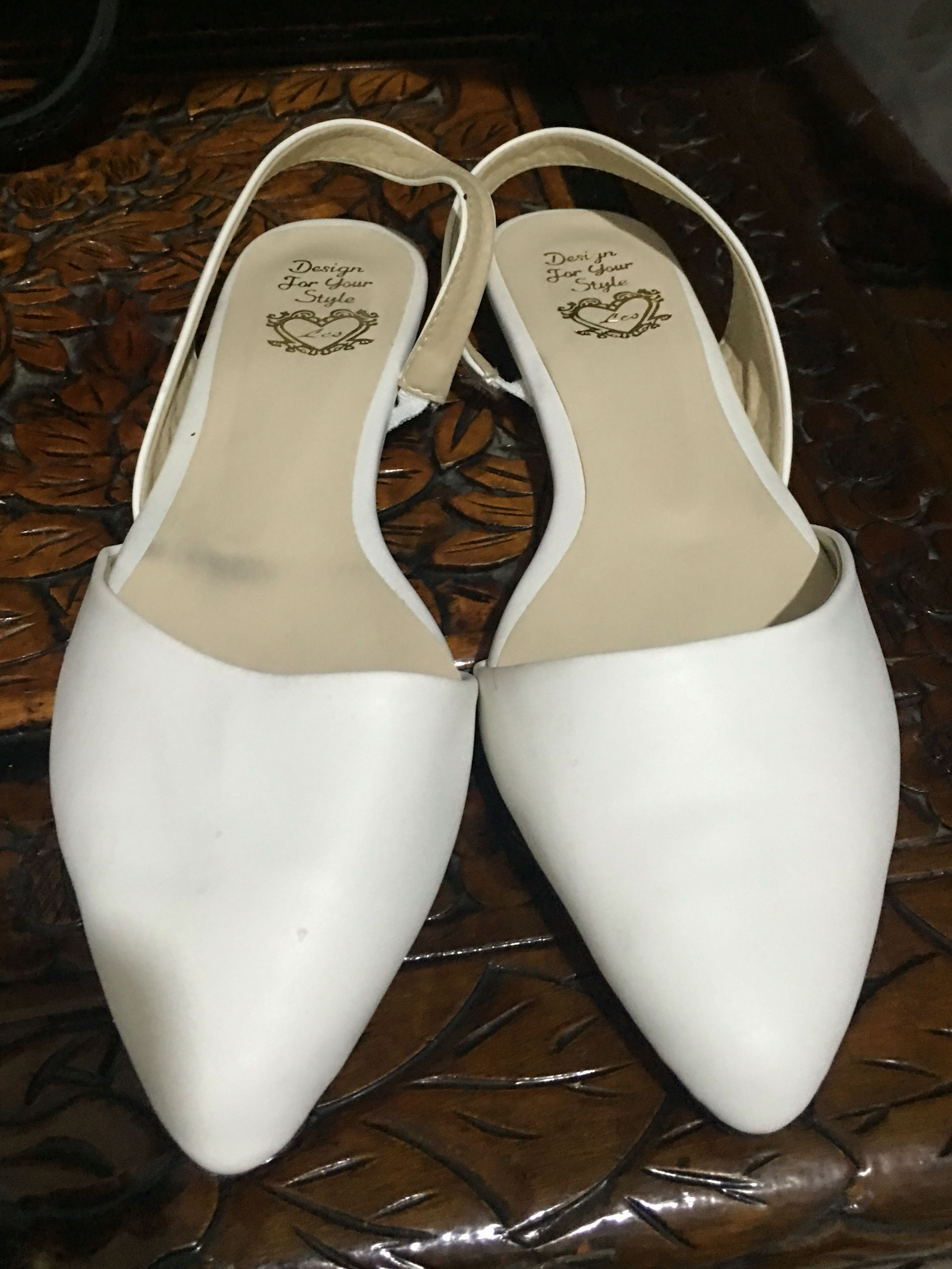 White Pointed Toe Flats, Women's