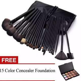 Professional 24Pcs Cosmetic Makeup Make Up Brush Brushes Set Kit Tools + Professional 15 Colors Makeup Face Cream Concealer Palette