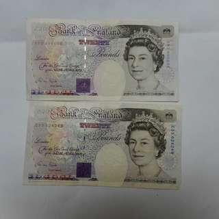 england great britain uk 20 pound notes, 2 pieces for $68