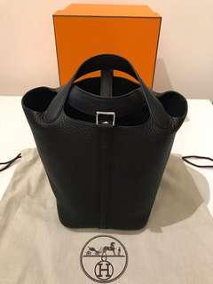 100% New & Real Hermes Picotin 18 Black 銀扣