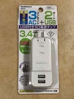 日本掣式 USB插座 雙腳萬能插頭 電話電池電腦叉電 3.4A充電 Japan socket iPhone iPad