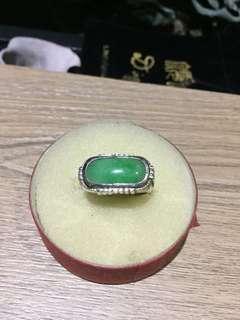天然翡翠A貨銀鑲嵌戒指