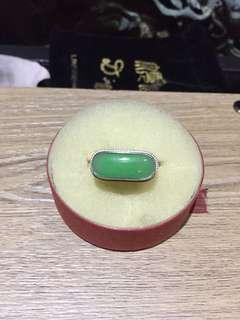 A玉銀戒指、純手工製作