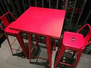 2 x Metal High Bar stools and High Table