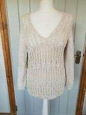 Massimo Dutti Beige V neck Cable knitwear