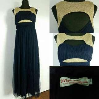 (M-SL) Moody Blue Long Dress