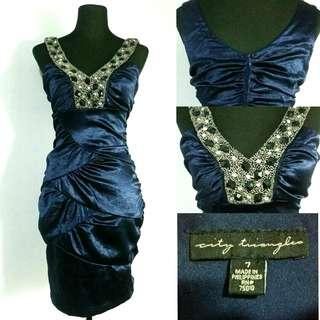 (M-SL) Cocktail Blue Dress w/ Embelishments