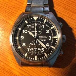 Seiko Military Chronograph 100M (Big Size 43MM) - Metal Strap