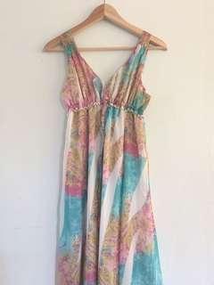 🌟 Pastel Blue Pink Maxi Summer Dress