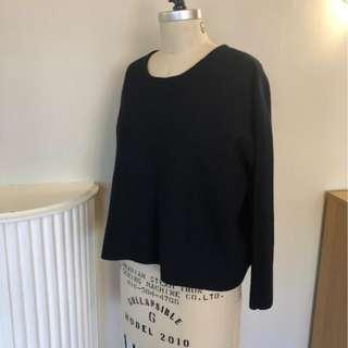 MAJE Navy Blue Cropped Boxy Sweater Good Condition